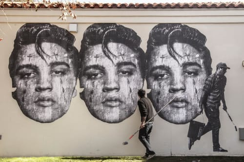 Murals by Cheyenne Randall aka INDIANGIVER seen at Heard Museum, Phoenix - Elvis Presley