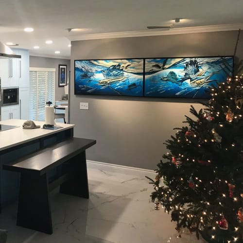 Paintings by D.Friel - Connected by Water seen at Private Residence, Coral Springs - Atlantic Harmony Sailfish - Original Paintings