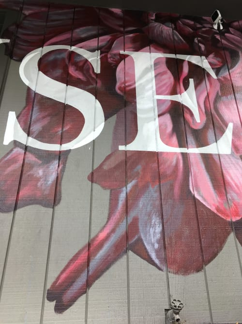 Murals by Erik Burke seen at Kramer House Midtown, Reno - Floral with text