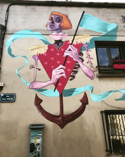 Street Murals by Primal Graphic seen at Rue Marie Muller, Montpellier - THE CONQUEROR