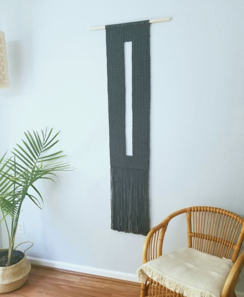 Macrame Wall Hanging by YASHI DESIGNS seen at Private Residence, Milpitas - Key- Hole Macrame Wall Hanging in Charcoal