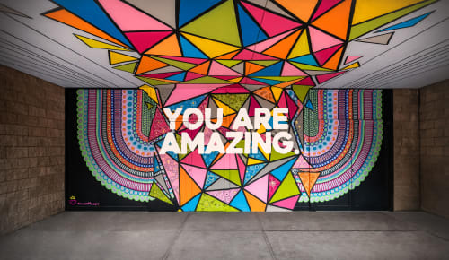 Street Murals by Jayarr Steiner seen at Adams Street Garage, Phoenix - EMBRACING THE AMAZING YOU