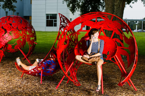 Public Sculptures by Creative Machines seen at University of Central Florida, Orlando - Cyclorama