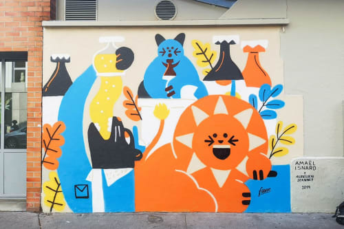 Murals by Amaël Isnard seen at Fauve Craft Bière, Paris - Big Cats Mural