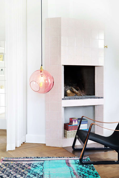 Lamps by Marie Burgos Design seen at Private Residence, New York - BALLROOM PINK PENDANT LIGHT + BALLROOM XL PINK PENDANT LIGHT