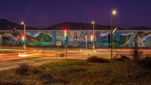 Street Murals by Levi Ponce seen at San Fernando Valley - Rushing Waters