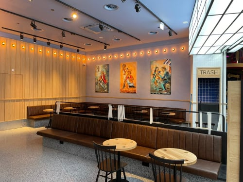 Paintings by Maia Siradze seen at Westfield Mall of the Netherlands, Leidschendam - Flemish fries paintings