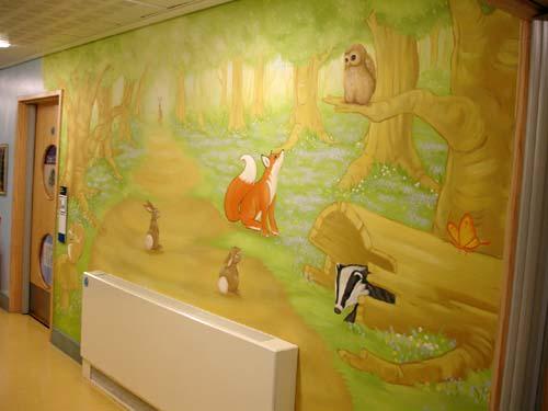 Murals by Inspire Murals seen at Ifield School, Gravesend - WOODLAND MURAL