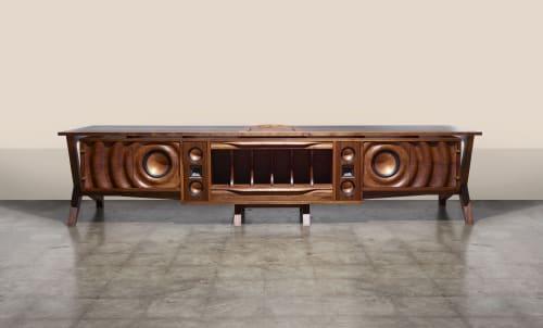 Furniture by Michael Maximo seen at Michael Maximo Furniture & Design Studio, Austin - Walnut Speaker Console