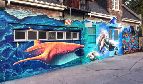Street Murals by Nick Sweetman seen at David French Lane, Toronto - Timeless Giant
