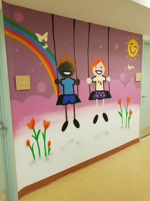 Murals by ZIMAD seen at Morris Heights, The Bronx - Pediatric clinic