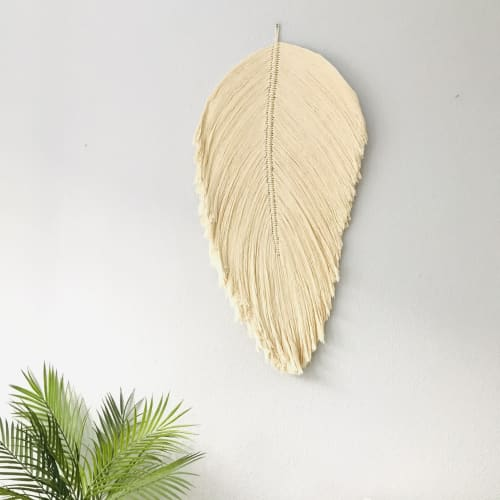 Macrame Wall Hanging by YASHI DESIGNS seen at Private Residence, Los Angeles - Giant fiber art leaf soft sculpture