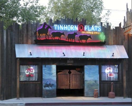 Signage by Lili Lakich seen at Tinhorn Flats Saloon & Grill, Burbank - Tinhorn  Neon Sign