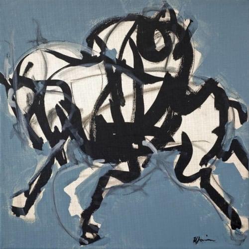 Polo Players Blue I, II 30 x 30 print | Paintings by Heidi Lanino