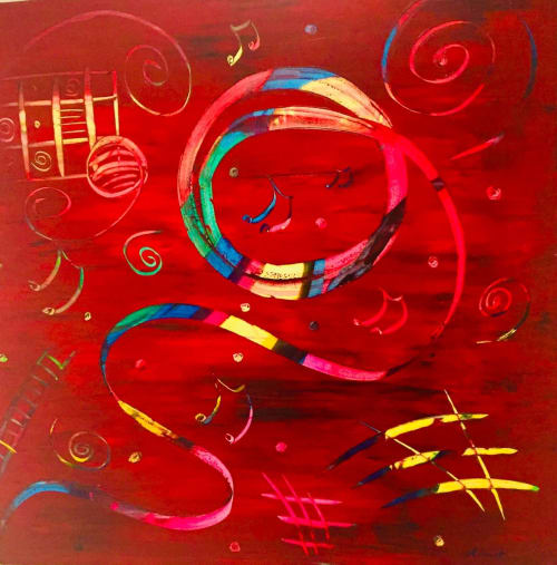 Paintings by Alicent Art seen at Private Residence, Nice - Festive Ribbons