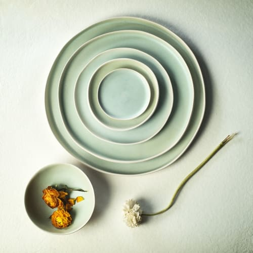 Ceramic Plates by Adarbakar seen at Private Residence - Green stoneware plate