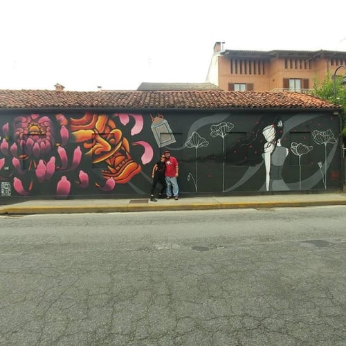 Street Murals by Stefania Gallina - MAPU Lab seen at Cavallermaggiore, Cavallermaggiore - Japan theme - Commissioned Mural