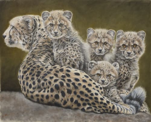 Paintings by Taylor Ann seen at Creator's Studio, Henderson - Cheetah Family Painting