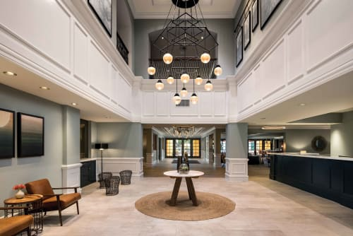 Chandeliers by Laspec Lighting -- Custom Lighting, Made in LA at Miramonte Indian Wells Resort & Spa, Curio Collection by Hilton, Indian Wells - Custom Geometry x Bulbs Chandelier