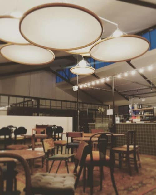 Chandeliers by Louw Roets seen at Schoon Manufactory Café, Stellenbosch - Bent Wood Chandelier