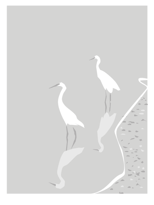 Wall Treatments by Richard Gene Barbera seen at Private Residence, New Canaan - Gene Babrera Limited Edition Print Patient Egrets