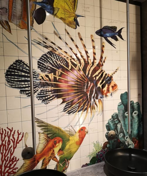 Murals by Romina Rosa seen at NinetyNine Munich Airport, Hallbergmoos - Toilet mural