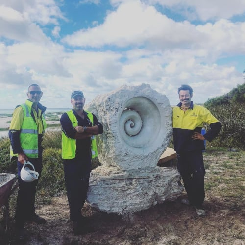 Public Sculptures by Kashmir Rouw seen at Quindalup, Quindalup - Spiral Fossilized Nautilus Sculpture