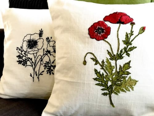 Pillows by KRUPA PARANJAPE seen at Private Residence, Mountain View - California Poppies pillow