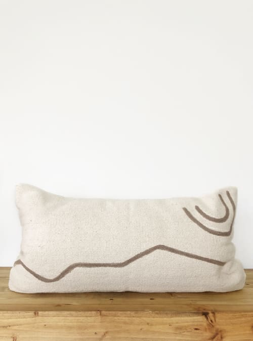 Navarre Handwoven Lumbar Pillow Cover - Dark Tan | Pillows by Coastal Boho Studio