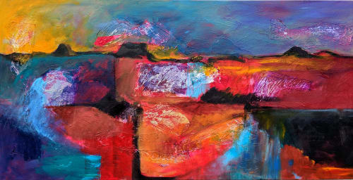 Paintings by Jillian Goldberg seen at Creator's Studio, Cary - Santa Fe Sunset