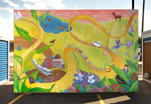 "Murals by Yulia Avgustinovich seen at Lakewood, Lakewood - Mural ""The Golden Road"""