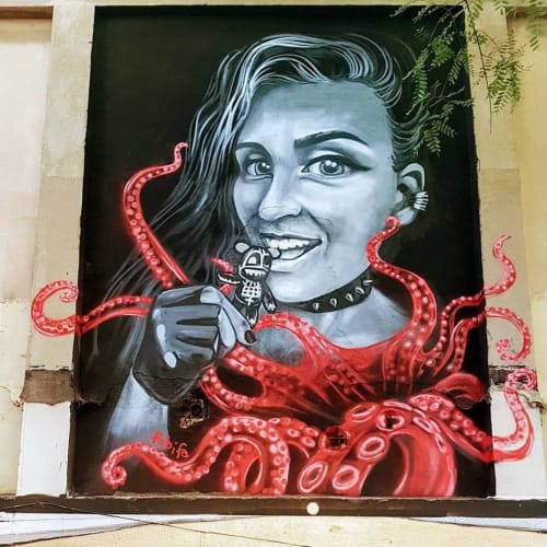 Painted mural   Street Murals by Fabifa   Nau Bostik in Barcelona