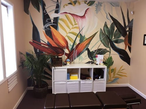 Murals by Letty Samonte seen at Ginkgo Chiropractic & Sensory Development Center, Berkeley - Tropicalia