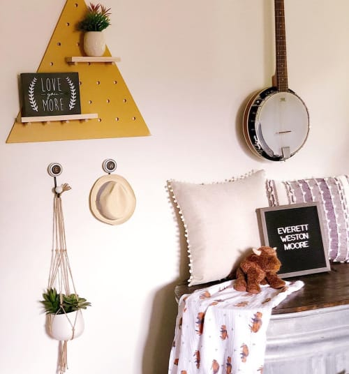 Wall Hangings by Spilled Milk Designs seen at Private Residence, Lexington - Triangle Shelf Decor