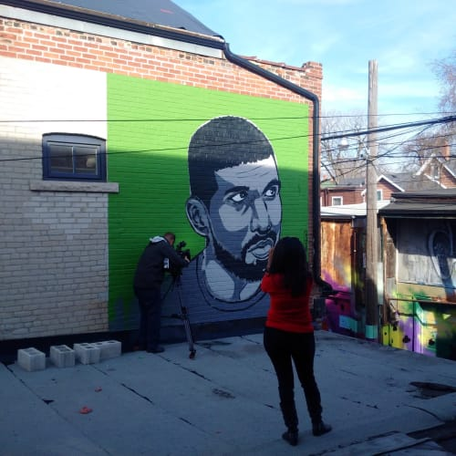 "Street Murals by Kestin Cornwall seen at Private Residence, Toronto - ""20"" foot Bad Boy"" Mural"