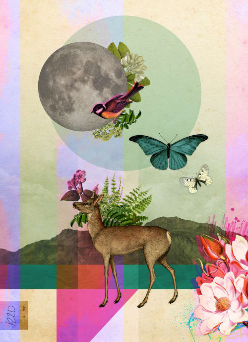 Art & Wall Decor by Amber Purdy / Field and Sky seen at Moxy Chattanooga Downtown, Chattanooga - Deer & Moon / Raccoon & Train