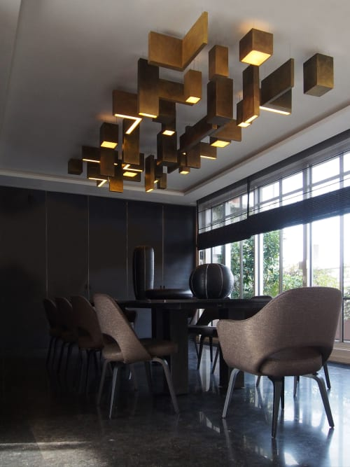 Geometric Gold Hanging Lights