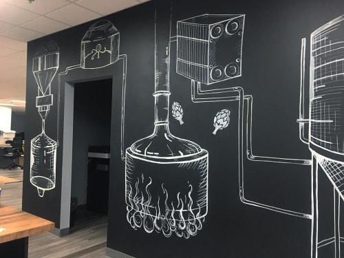 Murals by Cathryn Bozone seen at Anheuser-Busch, Cartersville - Brewing process mural