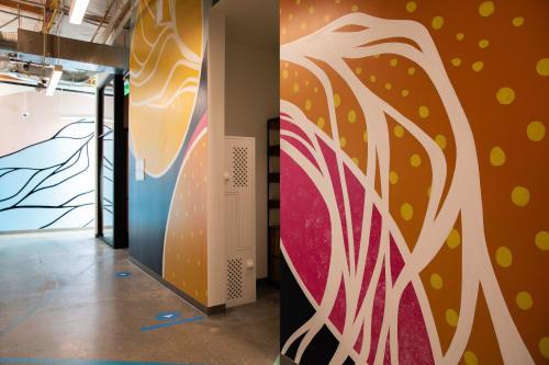 Murals by Strider Patton seen at Google HQ, Mountain View, CA, Mountain View - Flow Mural at Google