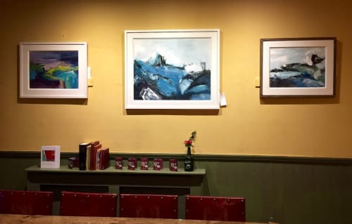 Paintings by Trudy Montgomery seen at Old Coastguard Hotel, Mousehole, Cornwall, UK, Penzance - Pulse