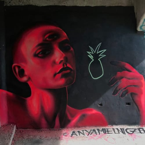 Murals by Anya Mielniczek seen at Jaco Beach - Pineapple Production
