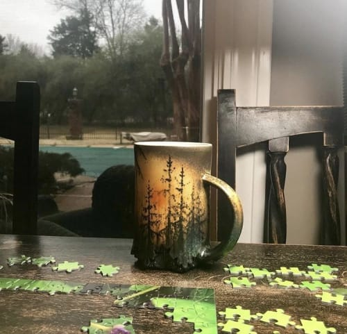 Cups by Dow Redcorn Ceramics seen at Private Residence, Memphis - Yellow, Orange and Green Illustrated Forest Mug