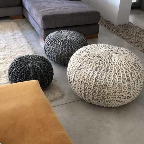 Benches & Ottomans by Cecilia Roviro seen at Private Residence, Buenos Aires - Large Ottoman Pouffe Hand Knitted Wool