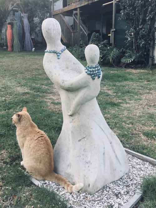 Public Sculptures by Dave Fowell seen at Eggsentric Cafe And Restaurant, Cooks Beach - Twirl Me Mama