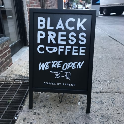 Murals by Very Fine Signs seen at Black Press Coffee, New York - Custom signage and mural