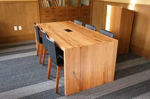 Tables by Urban Lumber Co. seen at University of Oregon, Eugene - Oak Tables