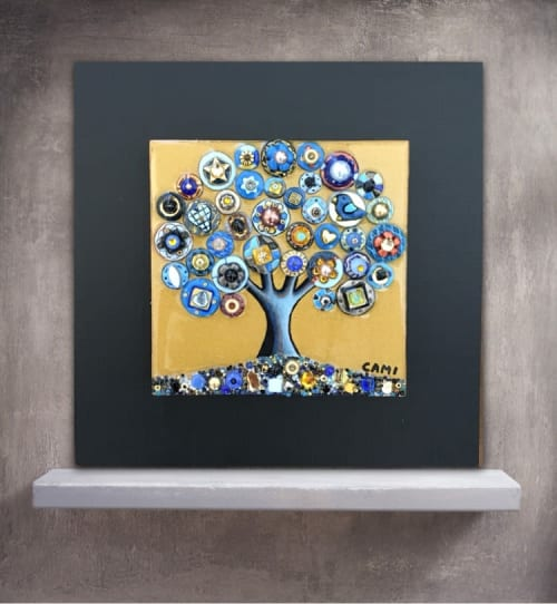 """Art & Wall Decor by Cami Levin seen at Creator's Studio, Dana Point - Tree of Love - """"The Golden Blues"""" - 10x10"""""""