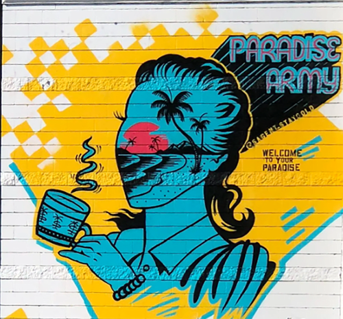 Murals by Sagent Staygold seen at Cuscatleca Bakery, Los Angeles - Morning sun rise in Paradise