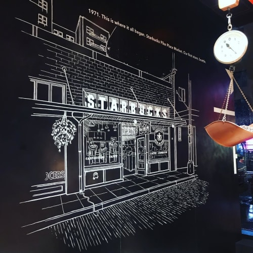 Murals by Very Fine Signs seen at Starbucks Reserve New York Roastery, New York - Mural
