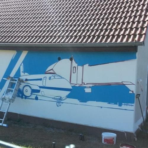 Street Murals by Duktus seen at Leipzig, Leipzig - Airplane Mural